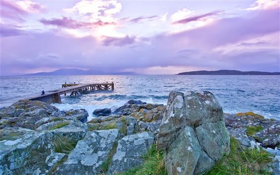 Wallpaper Lake, pier, rocks, dawn, sea