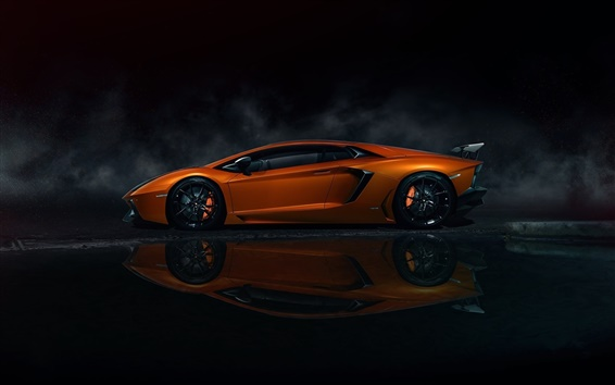 Wallpaper Lamborghini Aventador LP700-4 orange supercar, night