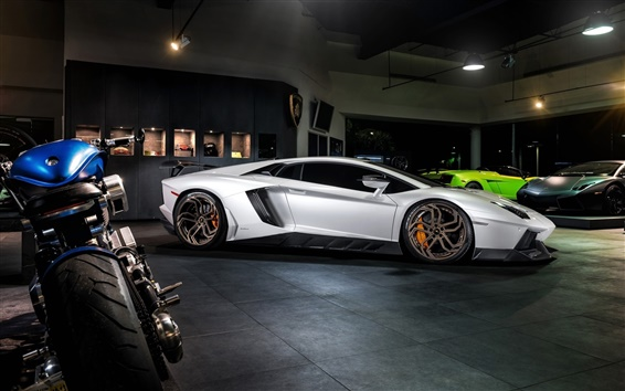 Wallpaper Lamborghini Aventador LP700-4 white supercar, night