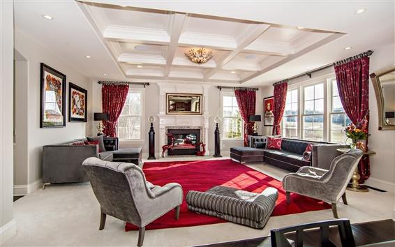 Wallpaper Living room, luxury home