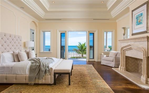 Wallpaper Luxury bedroom, ocean, palm tree
