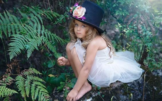 Fond d'écran Magie mignonne petite fille, chapeau