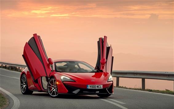Wallpaper McLaren 570S red supercar, doors opened