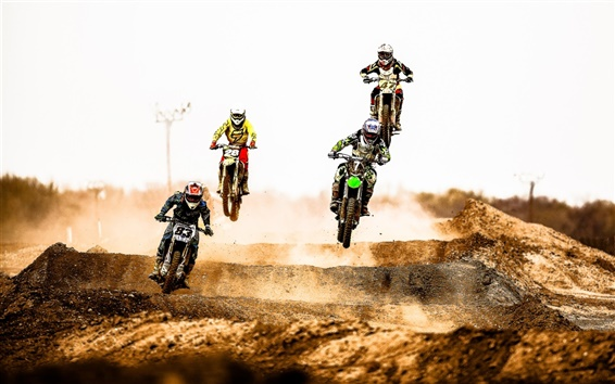 Fondos de pantalla Carrera de Motocross, salto, el polvo del desierto