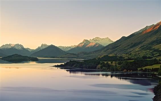 Wallpaper Mountain, lake, forest, dusk