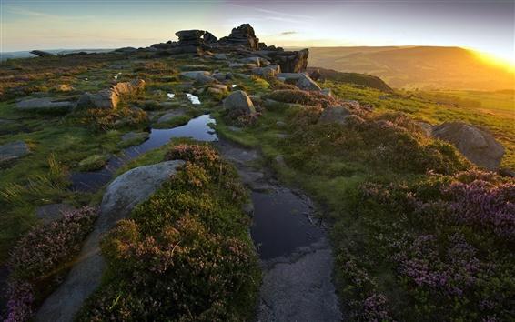 Обои Горы, скалы, утро, восход солнца