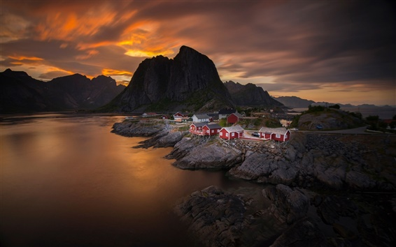 Wallpaper Norway, sky, clouds, sunset, sea, mountain, village, house