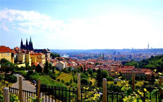 Обои Старый город, Чешская Республика, Прага, дом, река, небо, облака