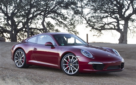 Wallpaper Porsche 911 supercar, red color