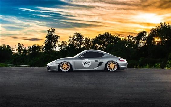 Fond d'écran Porsche Cayman argent supercar, vue de côté