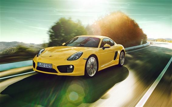 Wallpaper Porsche Cayman yellow car speed