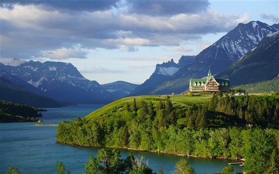 Wallpaper Prince of Wales Hotel, Waterton Lake, Alberta, Canada, Rocky Mountains