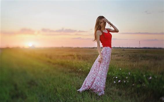 Papéis de Parede Menina vestido vermelho, flores, grama, por do sol