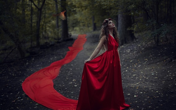 Wallpaper Red dress girl in the forest, bird, dusk