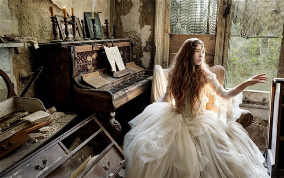 Wallpaper Retro style, girl, piano, music, old house