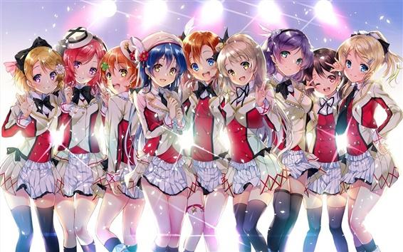 Wallpaper Sakura Kawabe, anime school girls