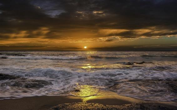 Wallpaper Sea, beach, waves, sunrise, clouds