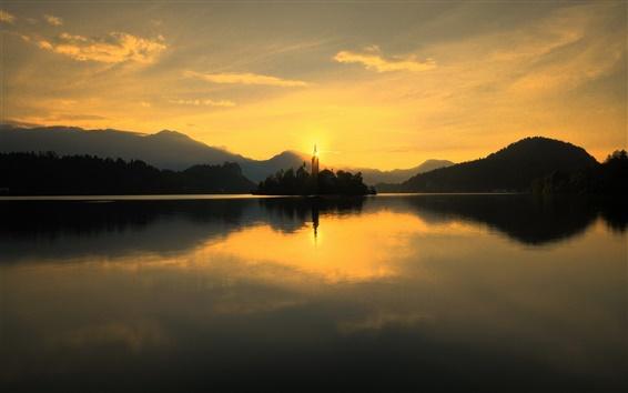 Wallpaper Slovenia, lake Bled, Church, dawn, sun