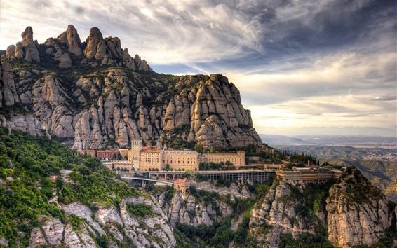 Wallpaper Spain, Barcelona, mountains, Santa Maria de Montserrat, house, clouds