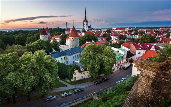 Fondos de pantalla Tallin, Estonia, antigua ciudad, carreteras, casas