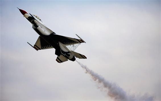 Wallpaper Thunderbird aircraft, sky, smoke