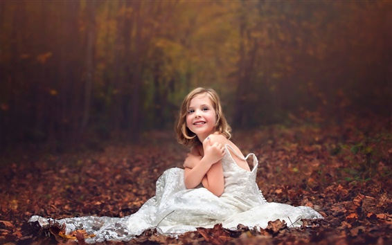 Wallpaper Wedding dress little girl, forest, autumn