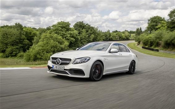 Обои 2 014 Mercedes-Benz AMG C63S белый автомобиль