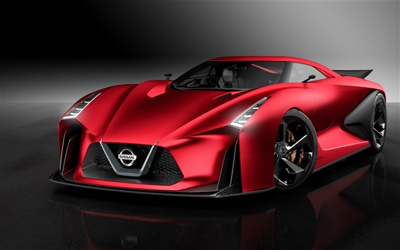 Wallpaper 2015 Nissan Concept 2020 Vision Gran Turismo, red supercar front view