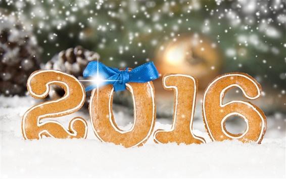 壁紙 2016年新年あけましておめでとうございます、クッキー、雪