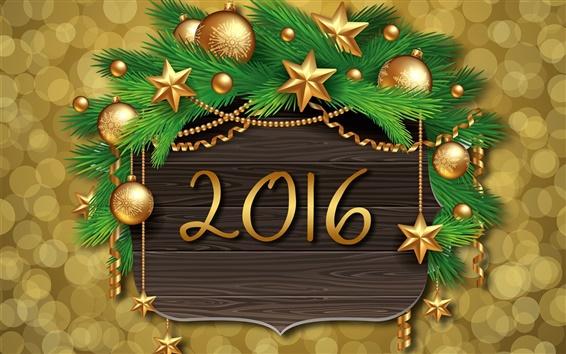 Обои 2016 Happy New Year, золотые шары, новогодние