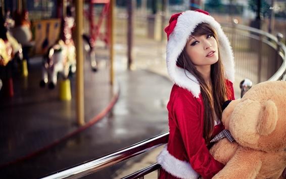 Wallpaper Asian girl, Christmas costume, bear toy