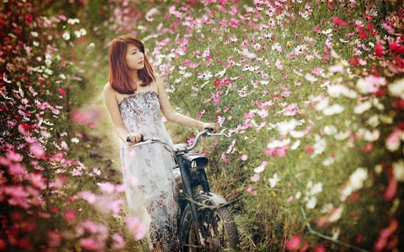 Wallpaper Asian girl, bike, flowers