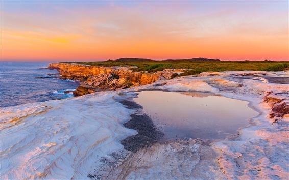Fond d'écran Australie, coucher de soleil, la mer, les rochers, côte, ciel rouge