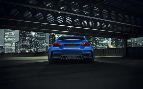 Fond d'écran BMW GTRS4 Vorsteiner vue arrière de voiture bleue, la nuit, la ville