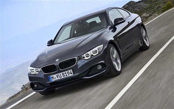 Wallpaper BMW fourth series black car speed