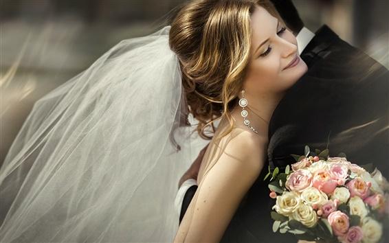 Обои Красивые невесты, вуаль, букет, радость, объятия