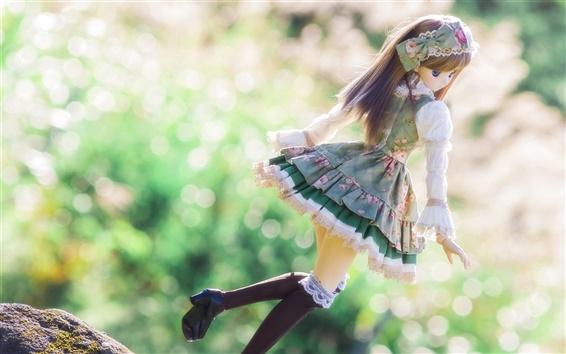 Wallpaper Beautiful girl, posture, doll, toy, bokeh