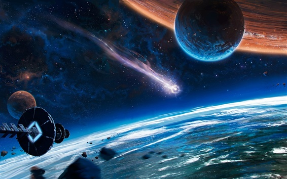 Wallpaper Beautiful space, planet, spaceship, comet, fantasy