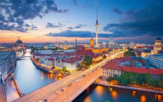 Fondos de pantalla Berlín, Alemania, ciudad, noche, luces, río, torre, casas