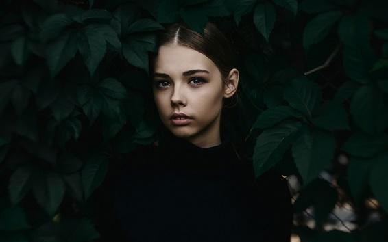 Wallpaper Black dress girl, leaves