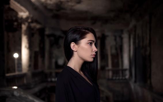 Обои Черные волосы девушка, черное платье, ночь