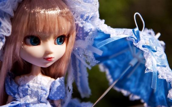 배경 화면 블루 스커트 장난감 어린 소녀