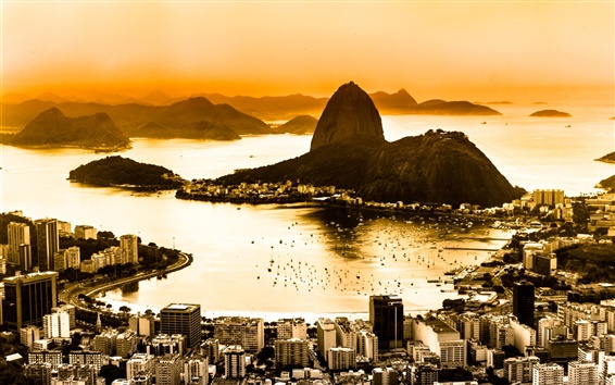 Wallpaper Brazil, Rio de Janeiro, city top view, coast, dawn, fog