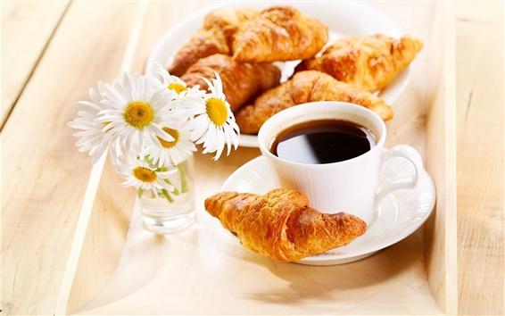 Papéis de Parede Pequeno-almoço, croissants, café, margaridas flores