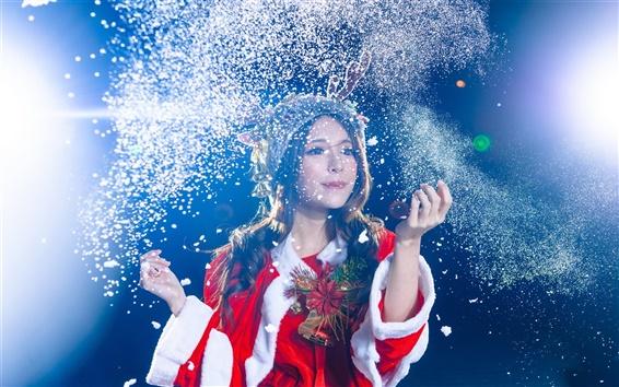 Wallpaper Christmas asian girl, celebration, snow flying