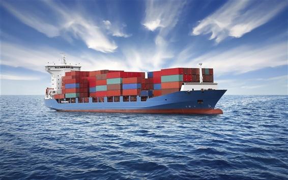 Fond d'écran Navire porte-conteneurs, la mer, les nuages