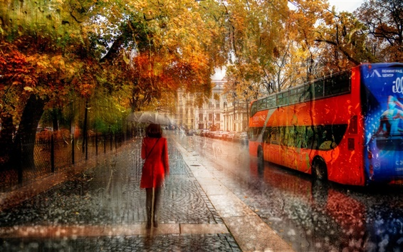 Wallpaper Creative pictures, St. Petersburg, girl, rain, autumn, road, cars