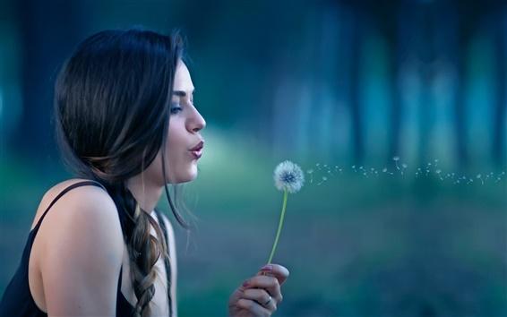 Wallpaper Girl, dandelion, bokeh