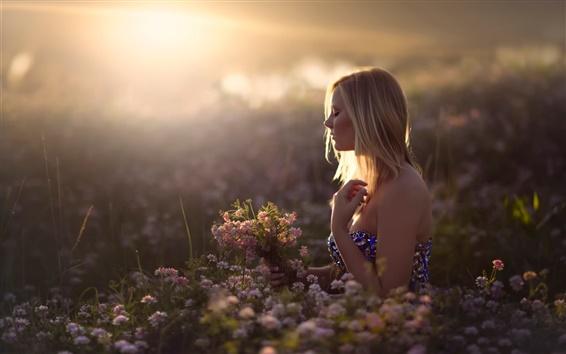 Wallpaper Girl in dreams, flowers, sun