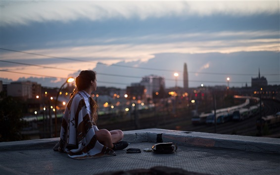 Wallpaper Girl, night, roof, sits, city, street, lights